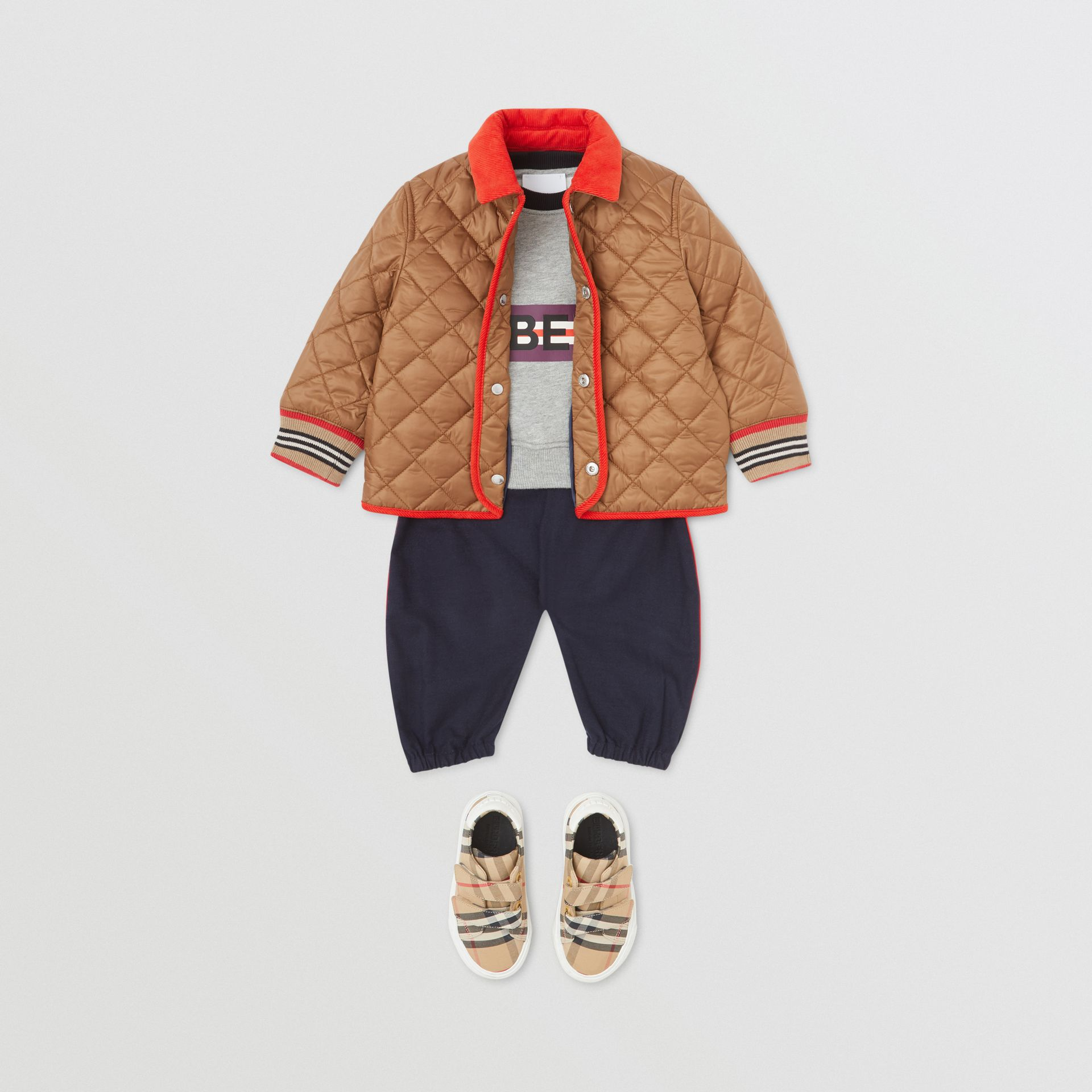 Corduroy Trim Lightweight Diamond Quilted Jacket in Bronze - Children | Burberry United Kingdom - gallery image 3