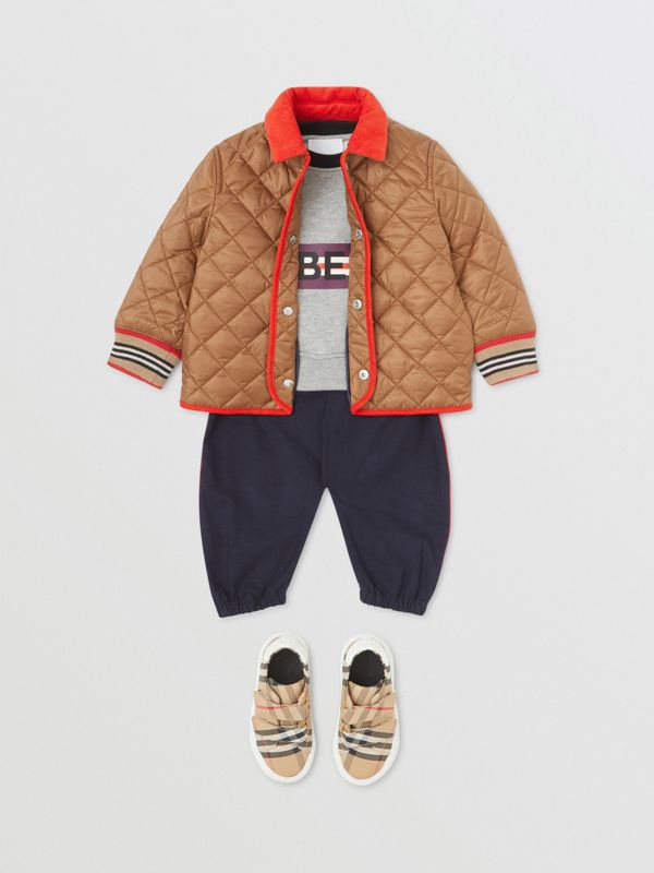 Corduroy Trim Lightweight Diamond Quilted Jacket in Bronze - Children | Burberry - cell image 3