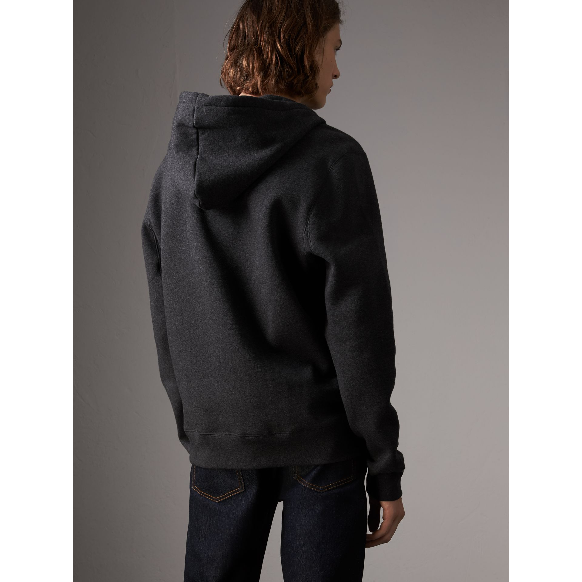 Hooded Cotton Jersey Top in Charcoal Melange - Men | Burberry - gallery image 3