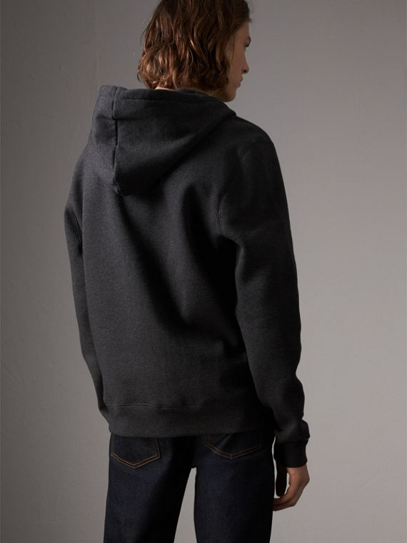 Hooded Cotton Jersey Top in Charcoal Melange - Men | Burberry United Kingdom - cell image 2