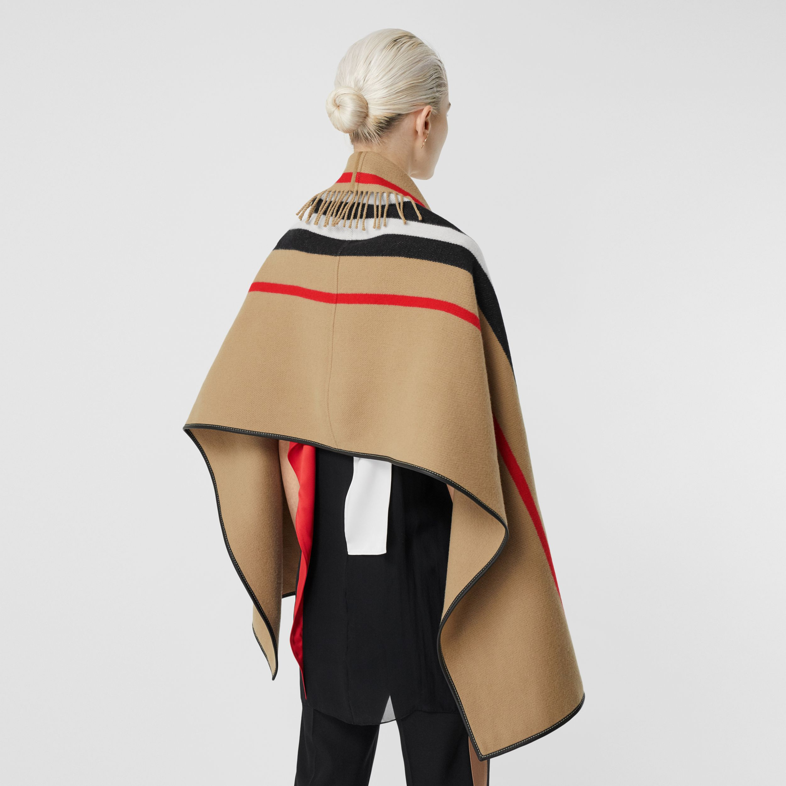 Icon Stripe Wool Cashmere Jacquard Cape in Archive Beige - Women | Burberry Australia - 3