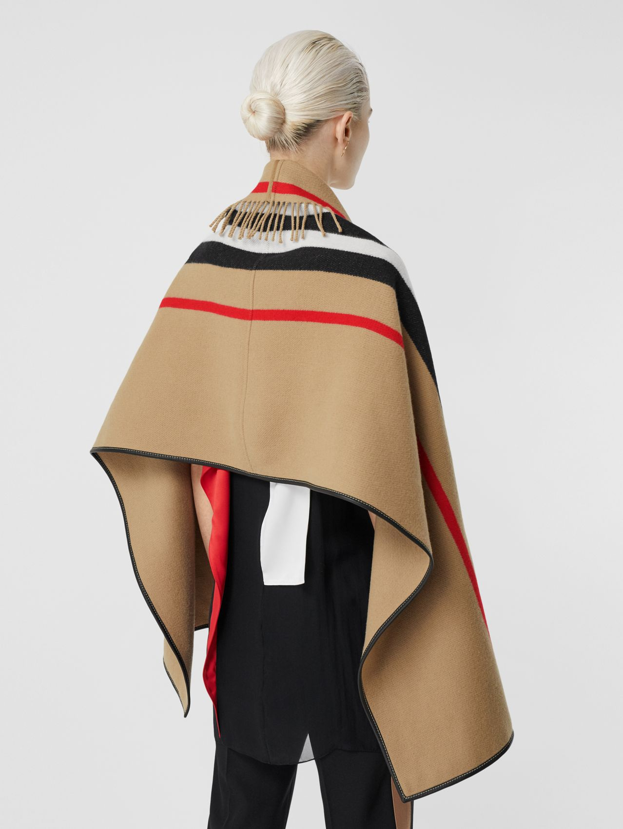Icon Stripe Wool Cashmere Jacquard Cape (Archive Beige)