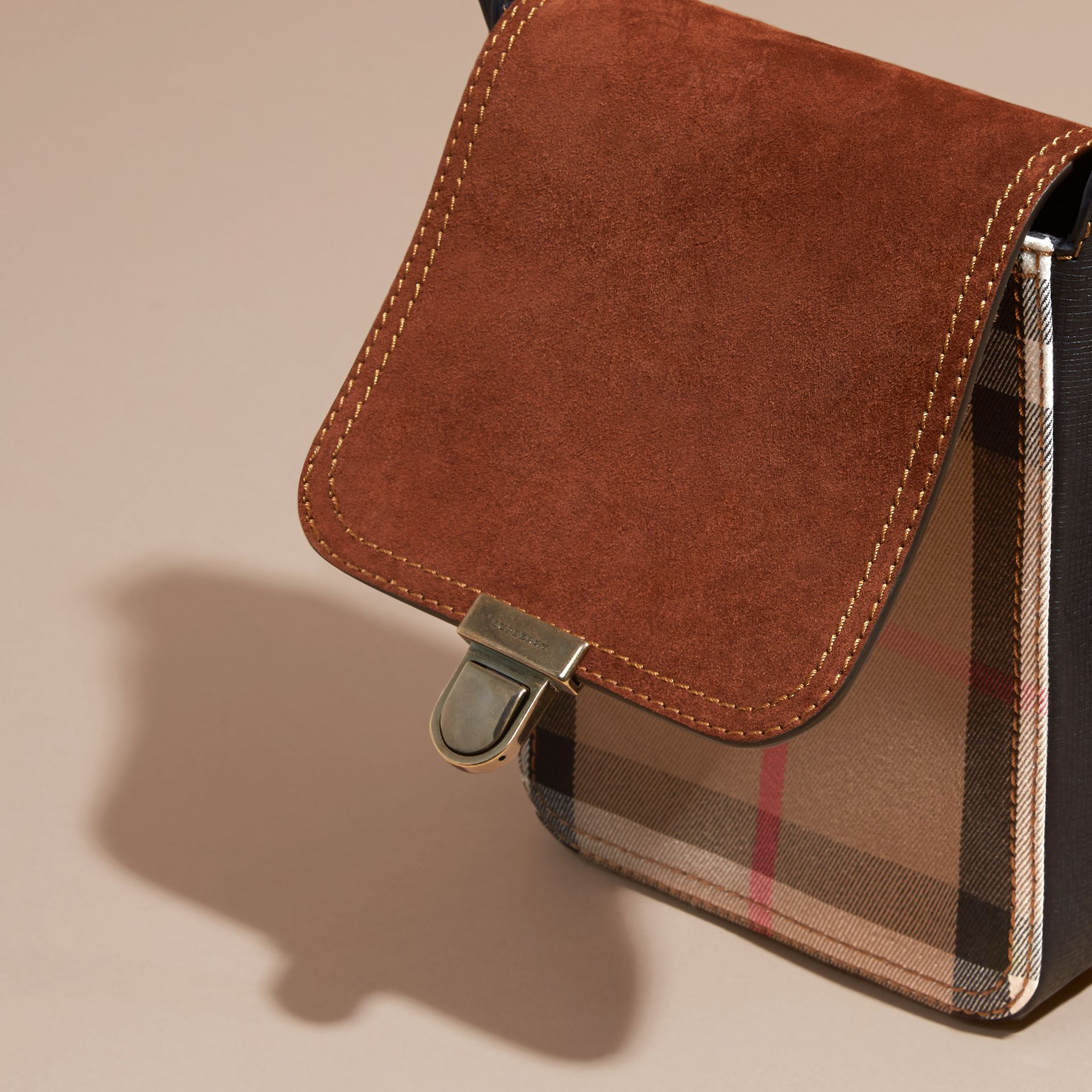 Russet brown The Small Satchel in English Suede and House Check Russet Brown - gallery image 5