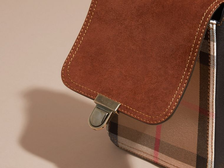Russet brown The Small Satchel in English Suede and House Check Russet Brown - cell image 4