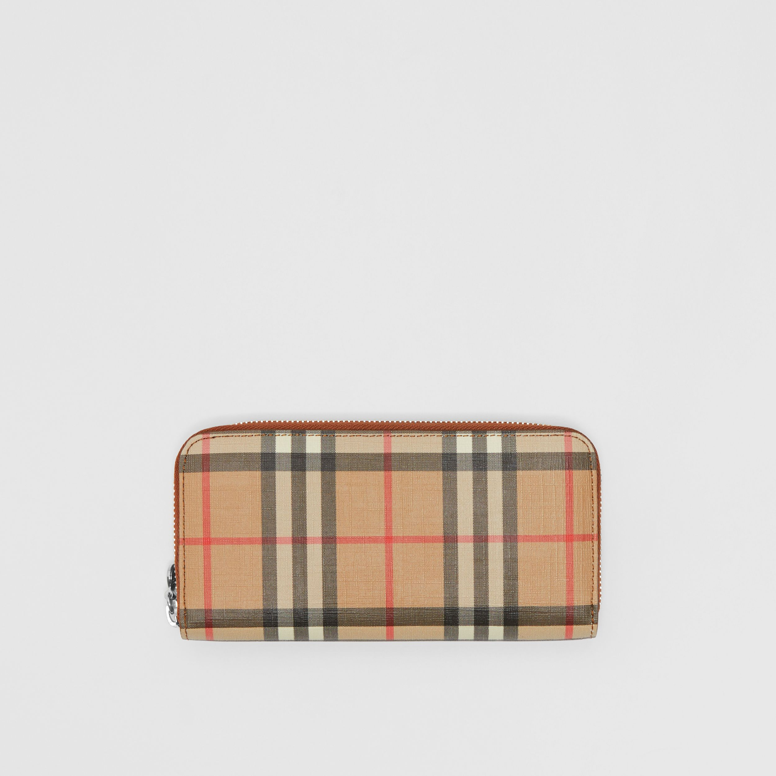 Vintage Check and Leather Ziparound Wallet in Malt Brown - Women | Burberry - 1