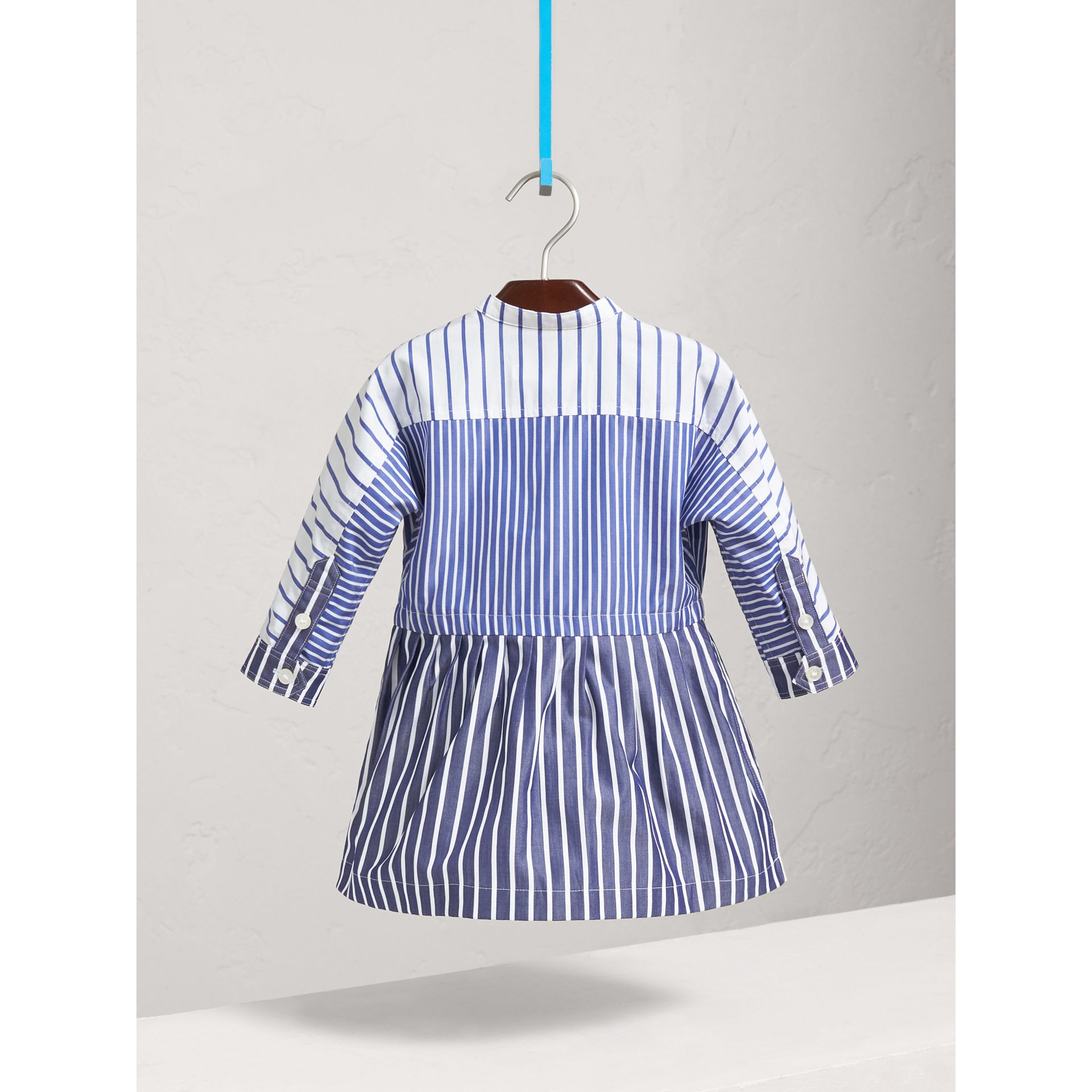 Contrast Stripe Cotton Dress in Indigo | Burberry - gallery image 3