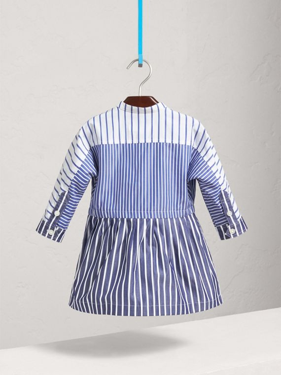 Contrast Stripe Cotton Dress in Indigo | Burberry - cell image 3