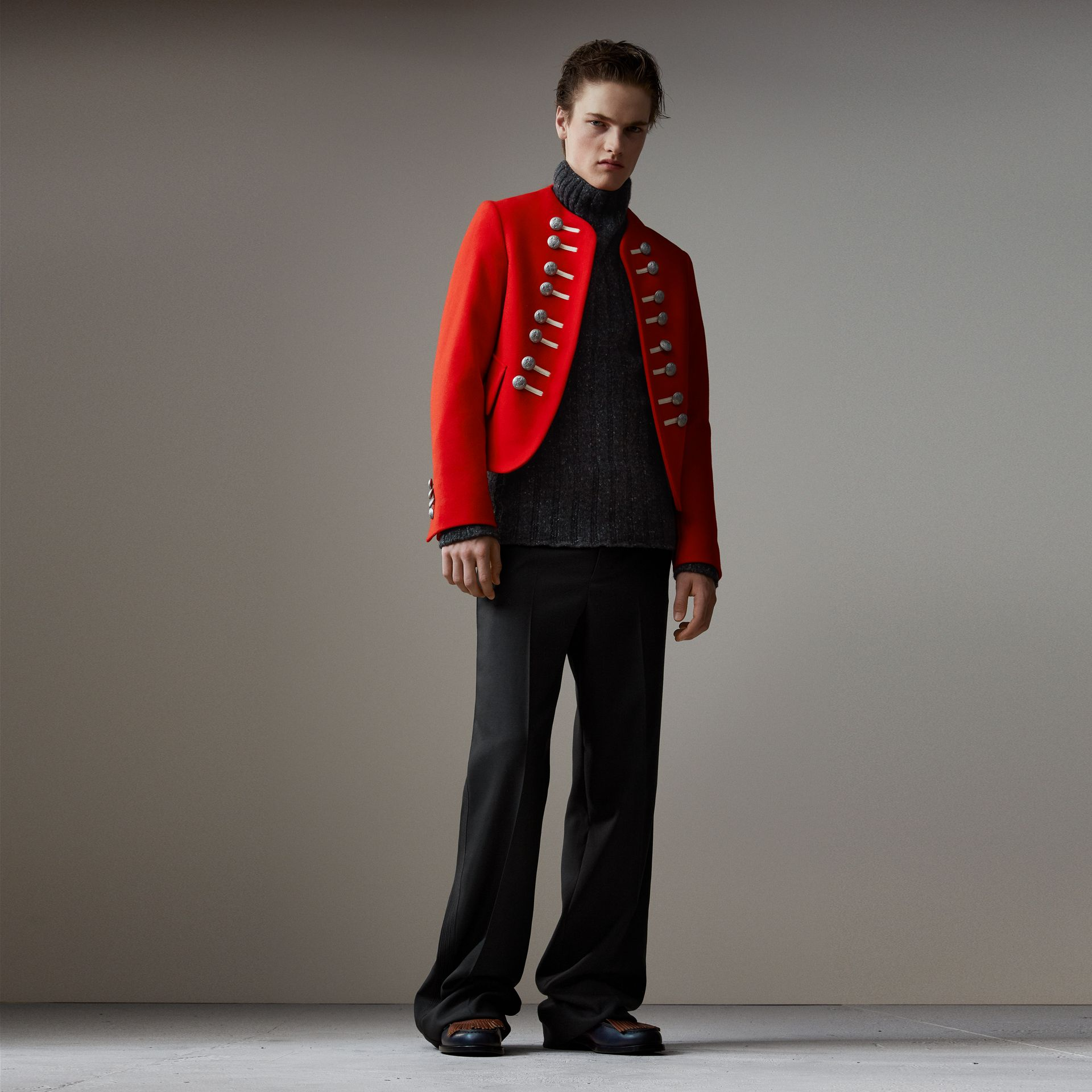 Wool Cropped Ceremonial Jacket in Orange Red - Men | Burberry United Kingdom - gallery image 0
