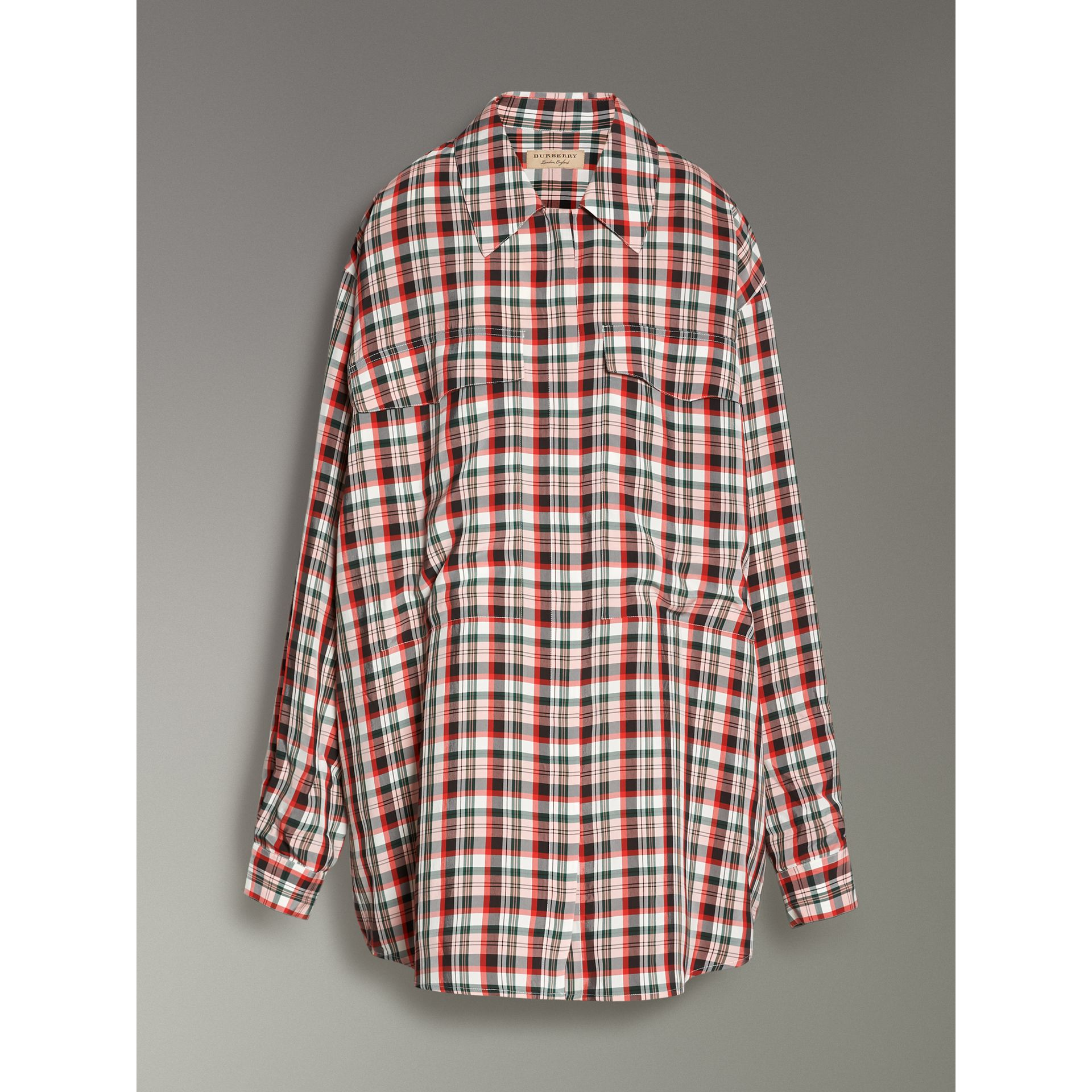 Small Scale Check Oversized Shirt in Bright Red - Women | Burberry United Kingdom - gallery image 3