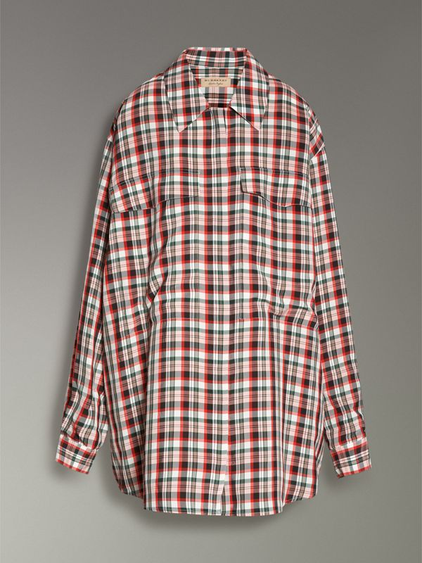 Small Scale Check Oversized Shirt in Bright Red - Women | Burberry United Kingdom - cell image 3