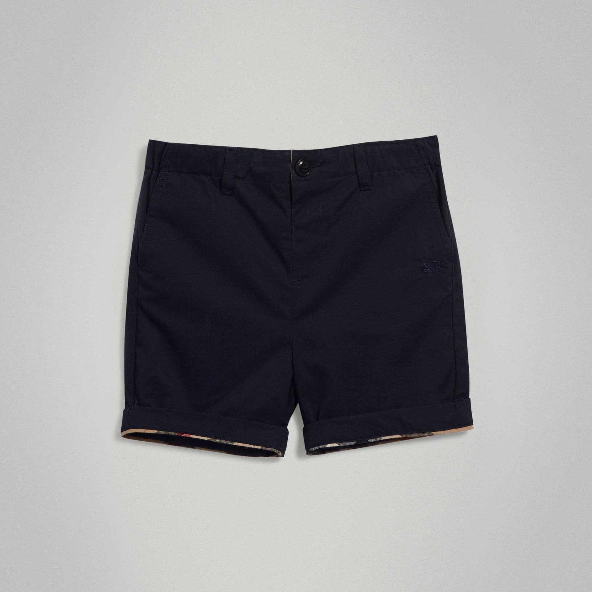 Check Detail Cotton Chino Shorts in Ink - Boy | Burberry - gallery image 0