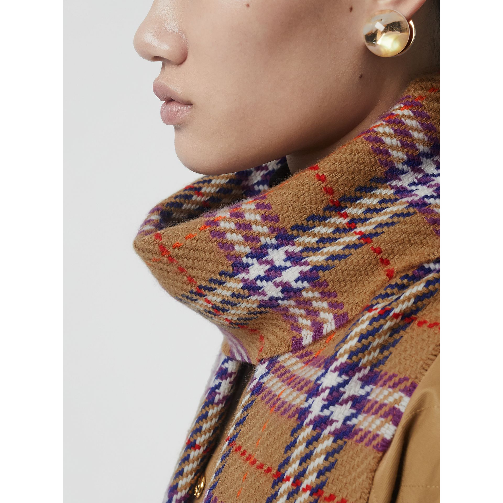 Check Merino Wool Scarf in Antique Yellow | Burberry - gallery image 5