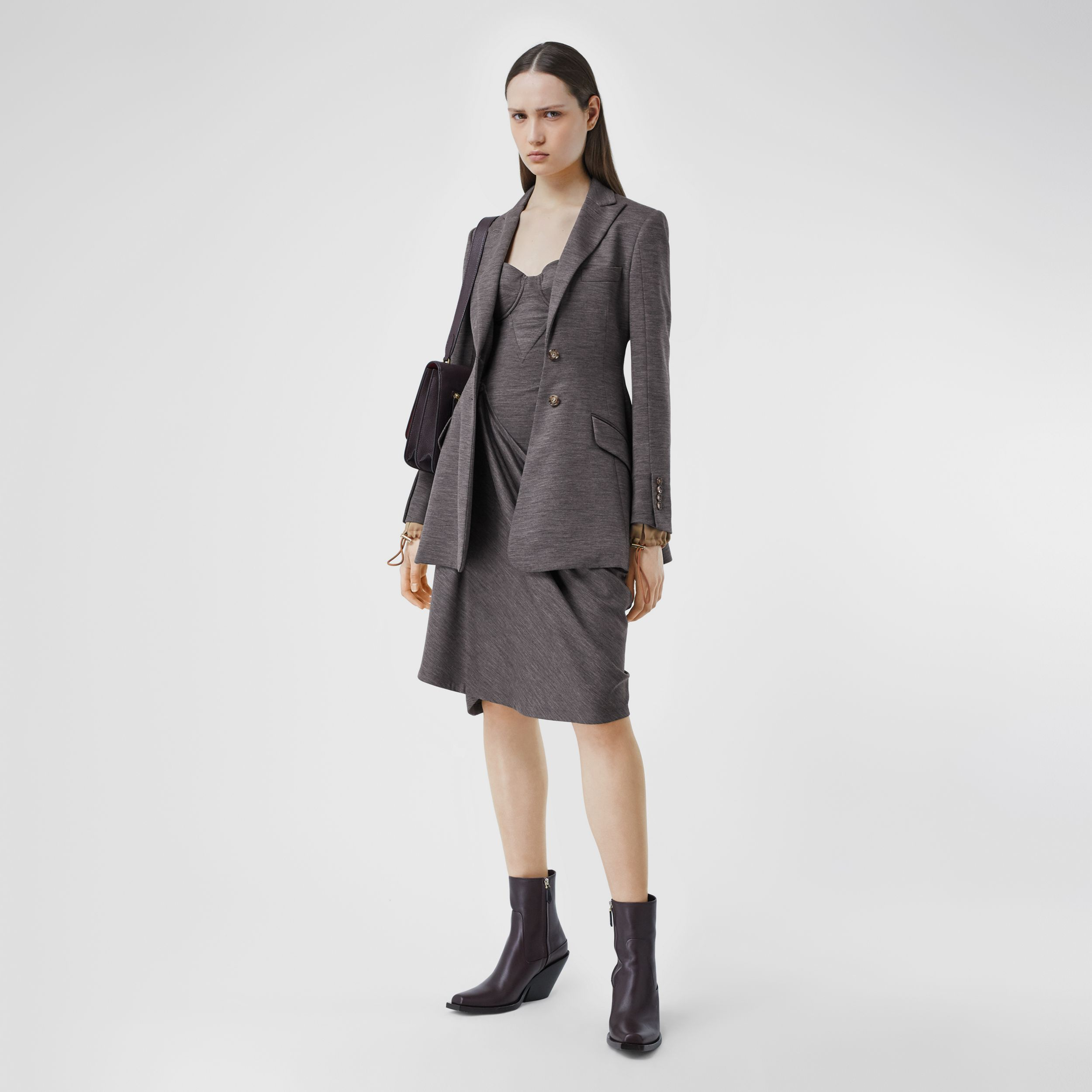 Silk Trim Technical Wool Blazer in Charcoal Grey - Women | Burberry Australia - 1