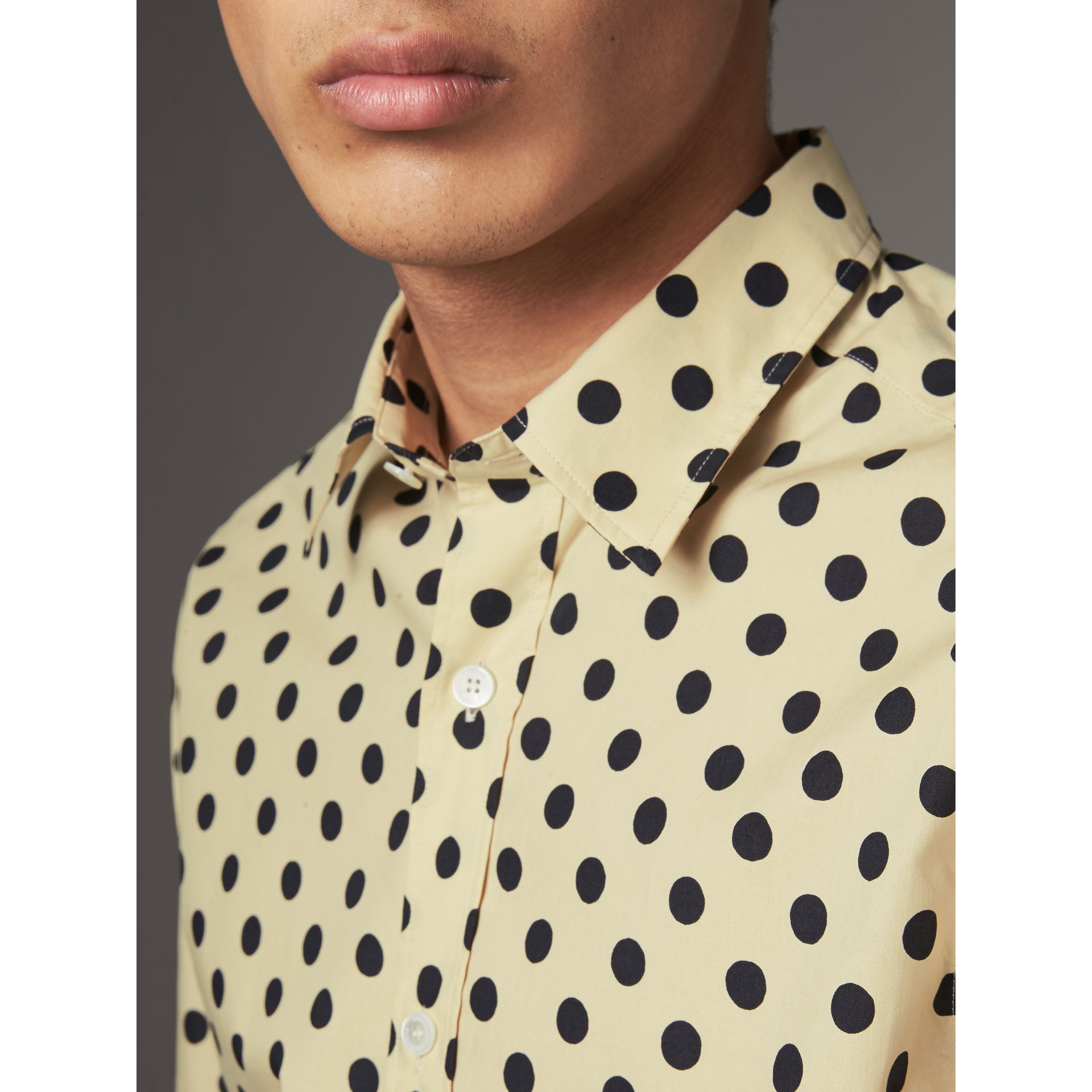 Polka-dot Cotton Shirt in Navy - Men | Burberry United Kingdom - gallery image 1