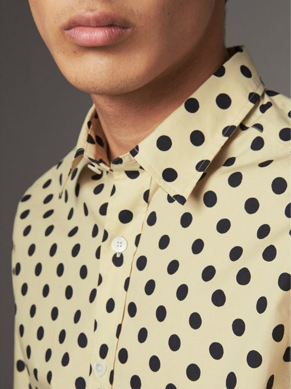 Polka-dot Cotton Shirt in Navy - Men | Burberry - cell image 1