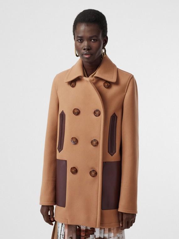 Lambskin Pocket Wool Blend Pea Coat in Camel