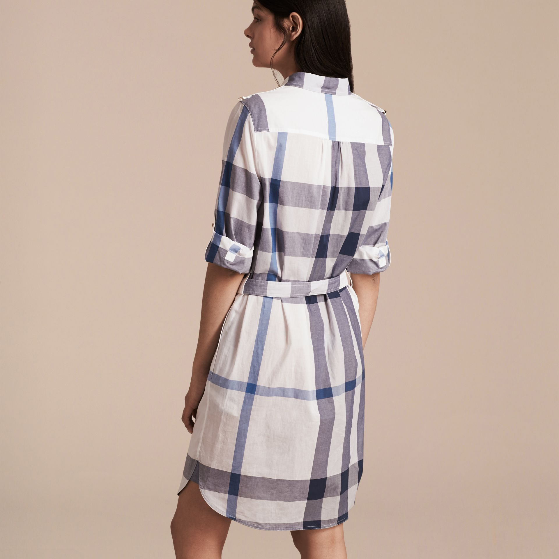 Ink blue Check Cotton Shirt Dress Ink Blue - gallery image 3