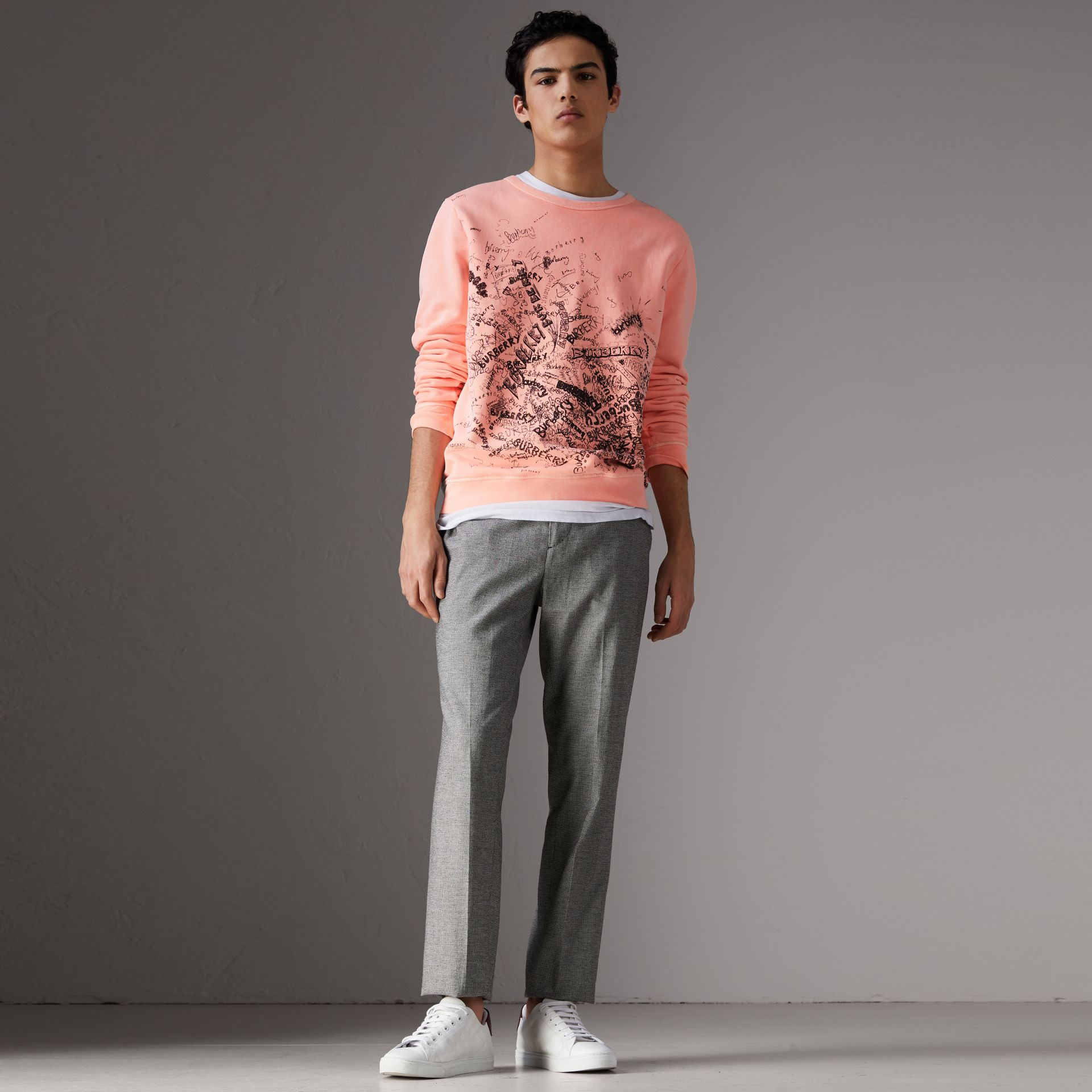 Doodle Print Cotton Sweater in Bright Clementine - Men | Burberry - gallery image 1