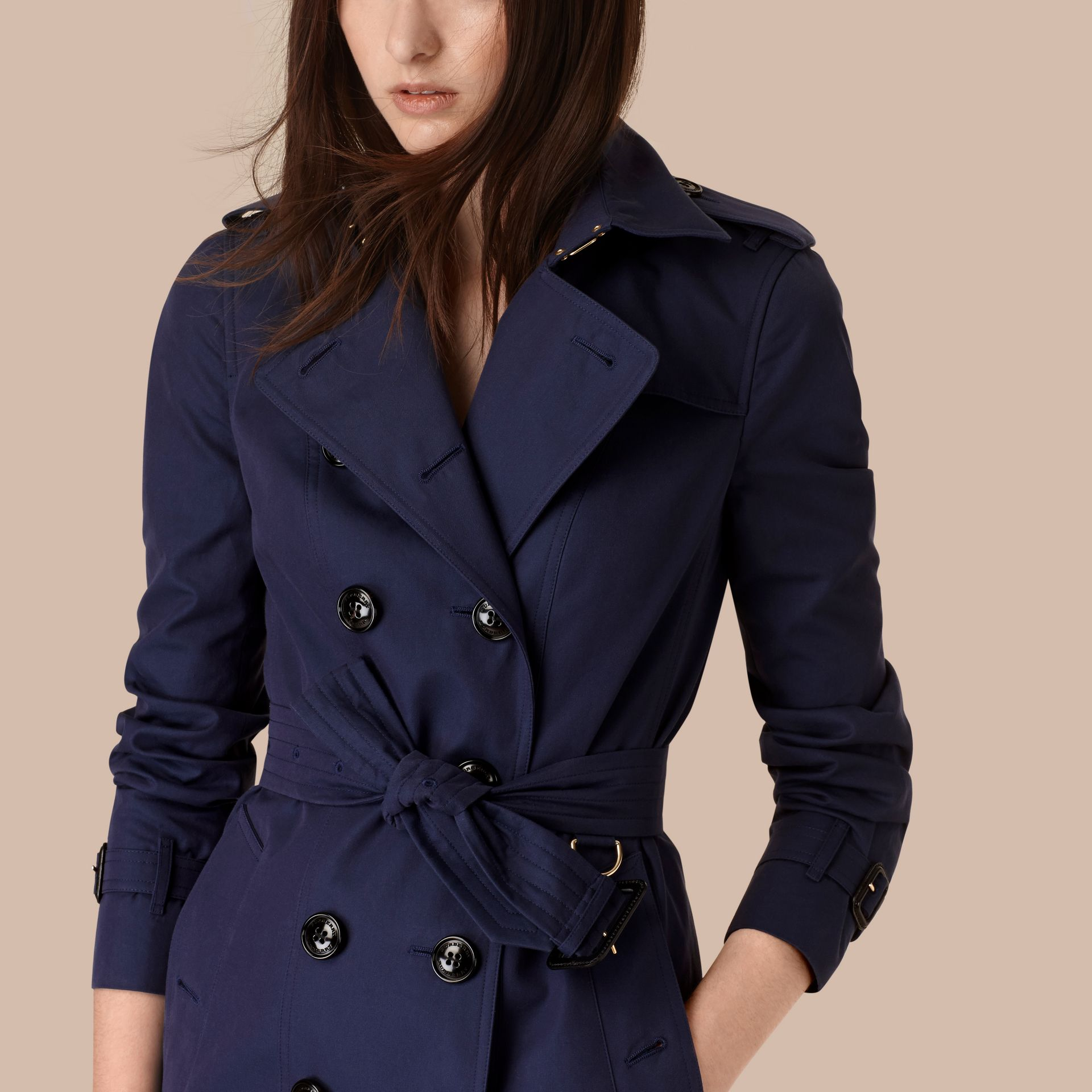 Ink blue Cotton Gabardine Trench Coat Ink Blue - gallery image 4