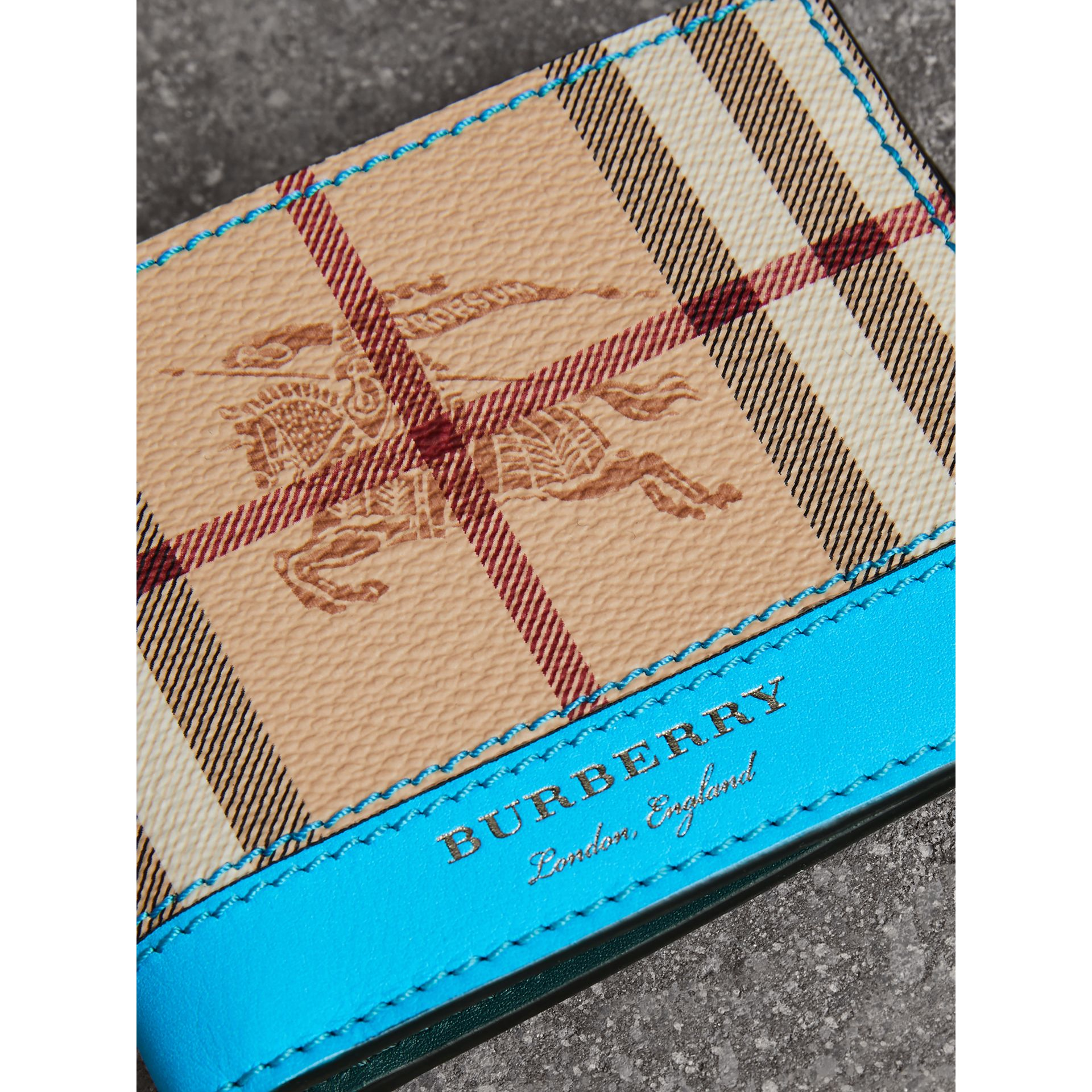 Haymarket Check and Leather Bifold Wallet in Bright Blue - Men   Burberry United States - gallery image 1