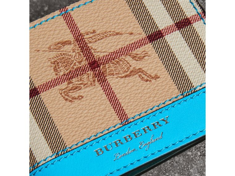 Haymarket Check and Leather Bifold Wallet in Bright Blue - Men   Burberry United States - cell image 1