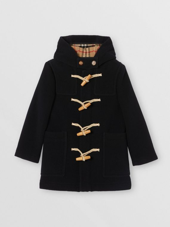 Boiled Wool Duffle Coat in Navy