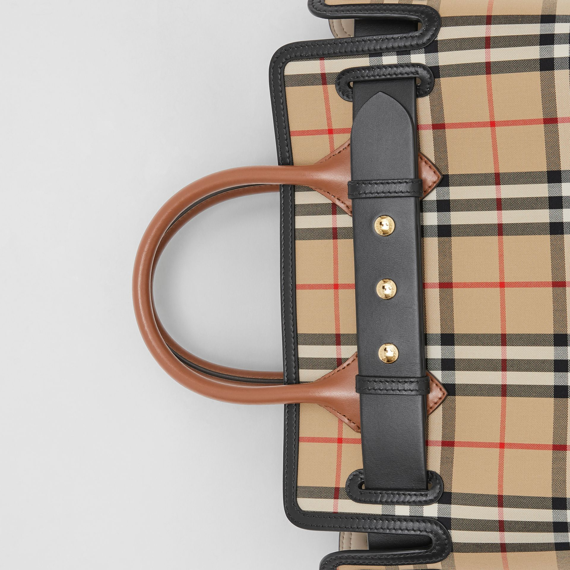The Small Vintage Check Triple Stud Belt Bag in Archive Beige - Women | Burberry Singapore - gallery image 1