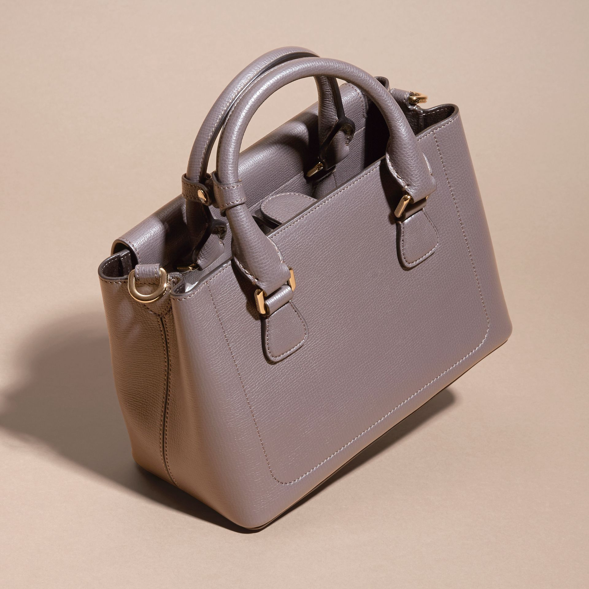 Sepia grey The Small Saddle Bag in Grainy Bonded Leather Sepia Grey - gallery image 4