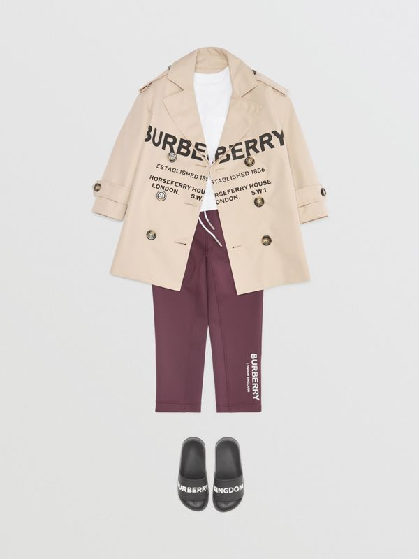 Logo Print Lightweight Trackpants in Claret | Burberry United States - cell image 2