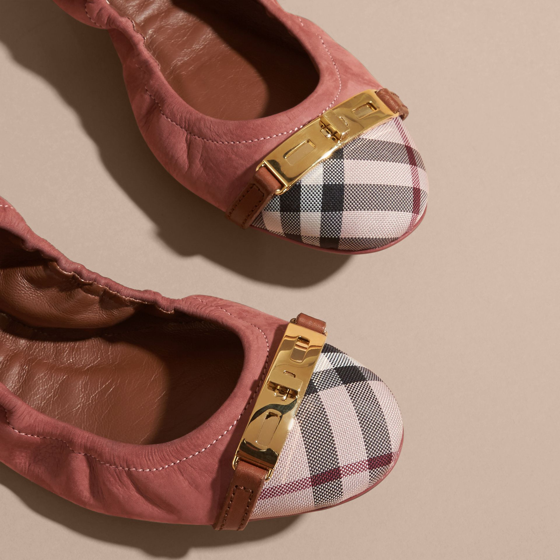 Antique pink Check Detail Suede Ballerinas - gallery image 2