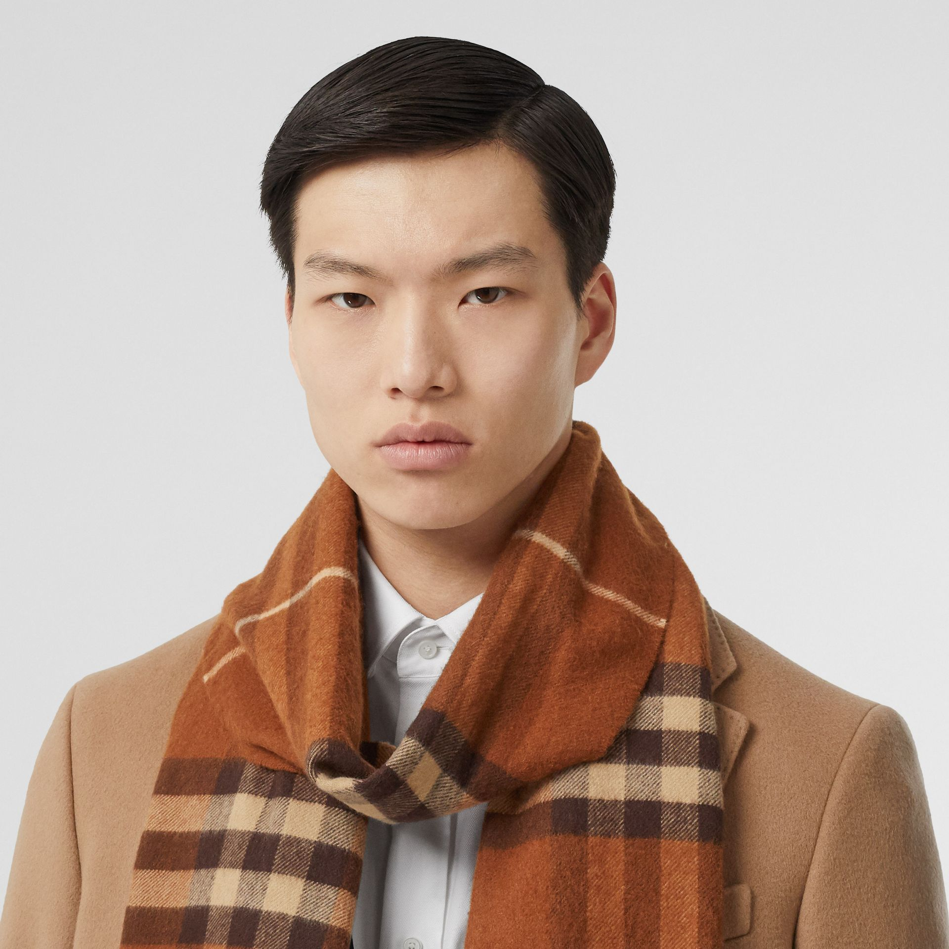 The Classic Check Cashmere Scarf in Chestnut | Burberry Australia - gallery image 3