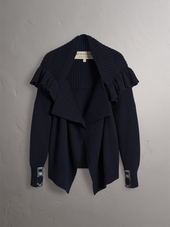 Ruffle Detail Wool Cashmere Cardigan in Navy - Women | Burberry - cell image 3