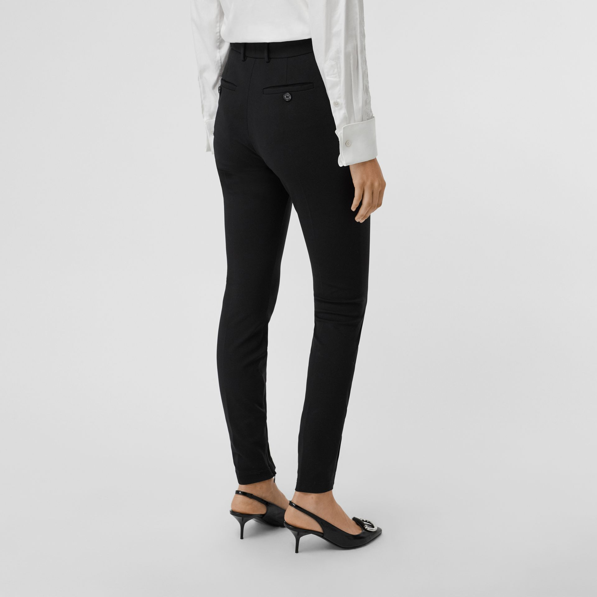 Stretch Jersey Tailored Trousers in Black - Women | Burberry United Kingdom - gallery image 2