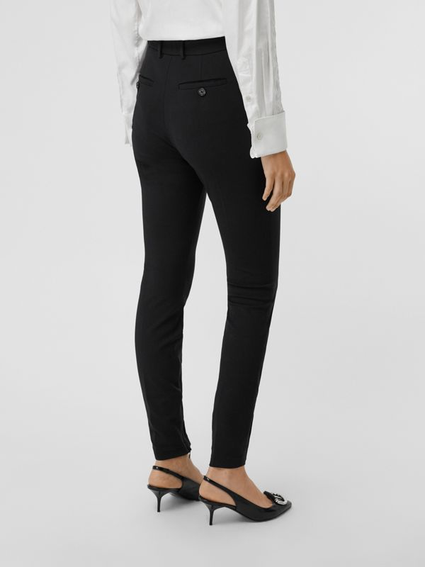 Stretch Jersey Tailored Trousers in Black - Women | Burberry Canada - cell image 2