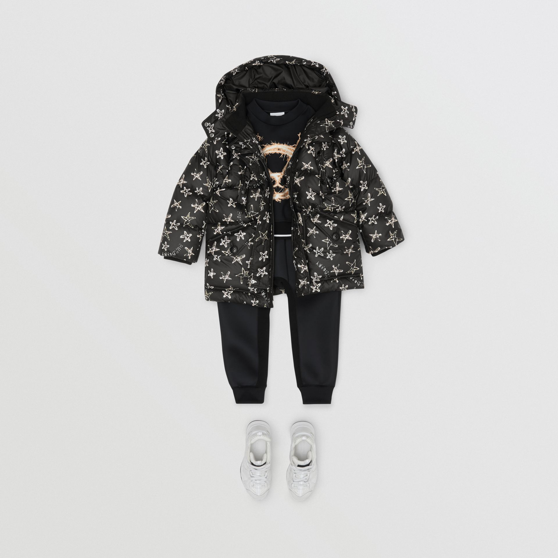 Sparkler Print Hooded Puffer Coat in Black | Burberry Singapore - gallery image 2