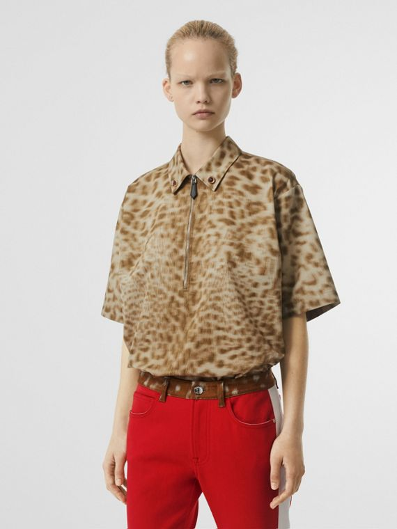 Short-sleeve Animal Print Cotton Oversized Shirt in Beige