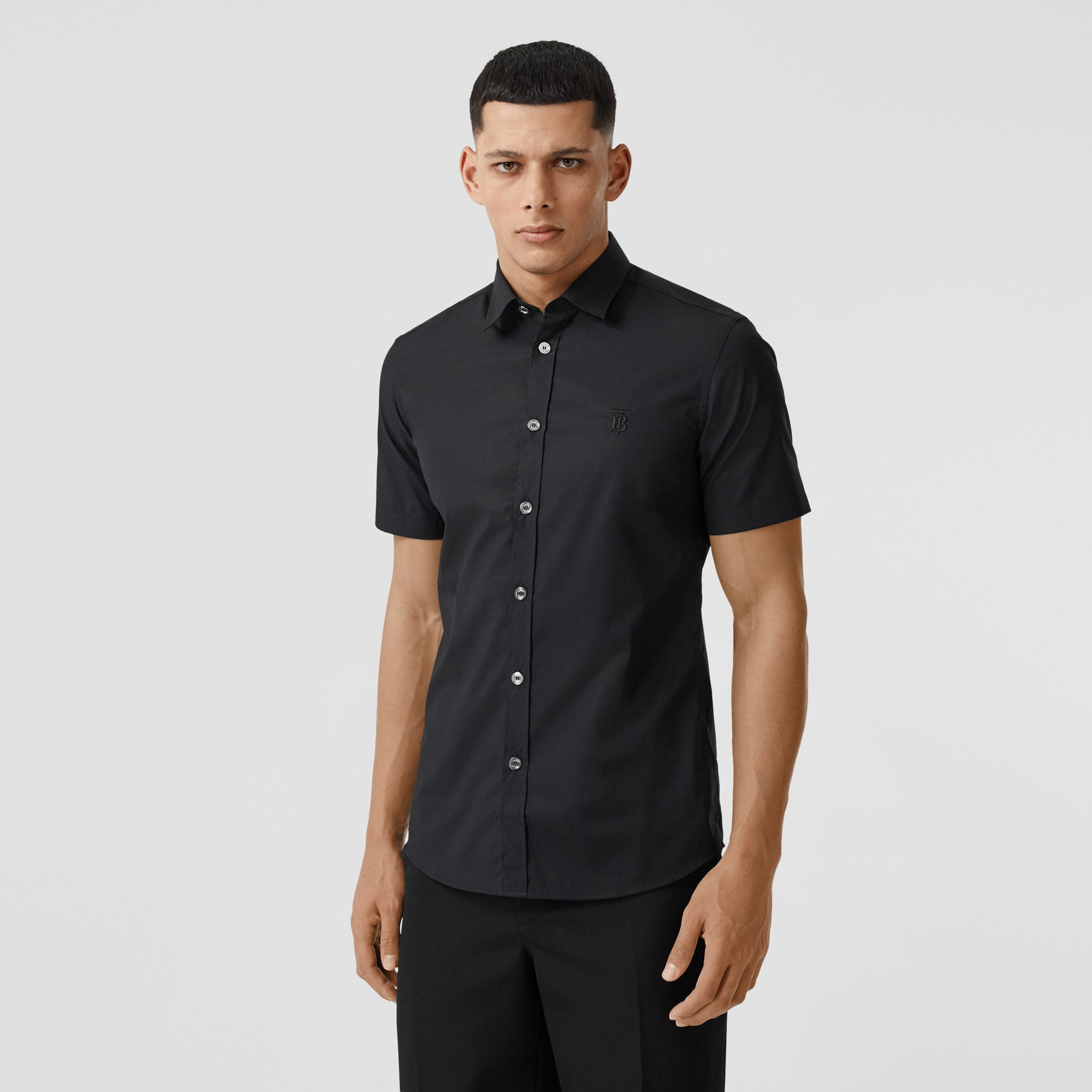 Short-sleeve Monogram Motif Stretch Cotton Shirt in Black - Men | Burberry Hong Kong S.A.R. - 1