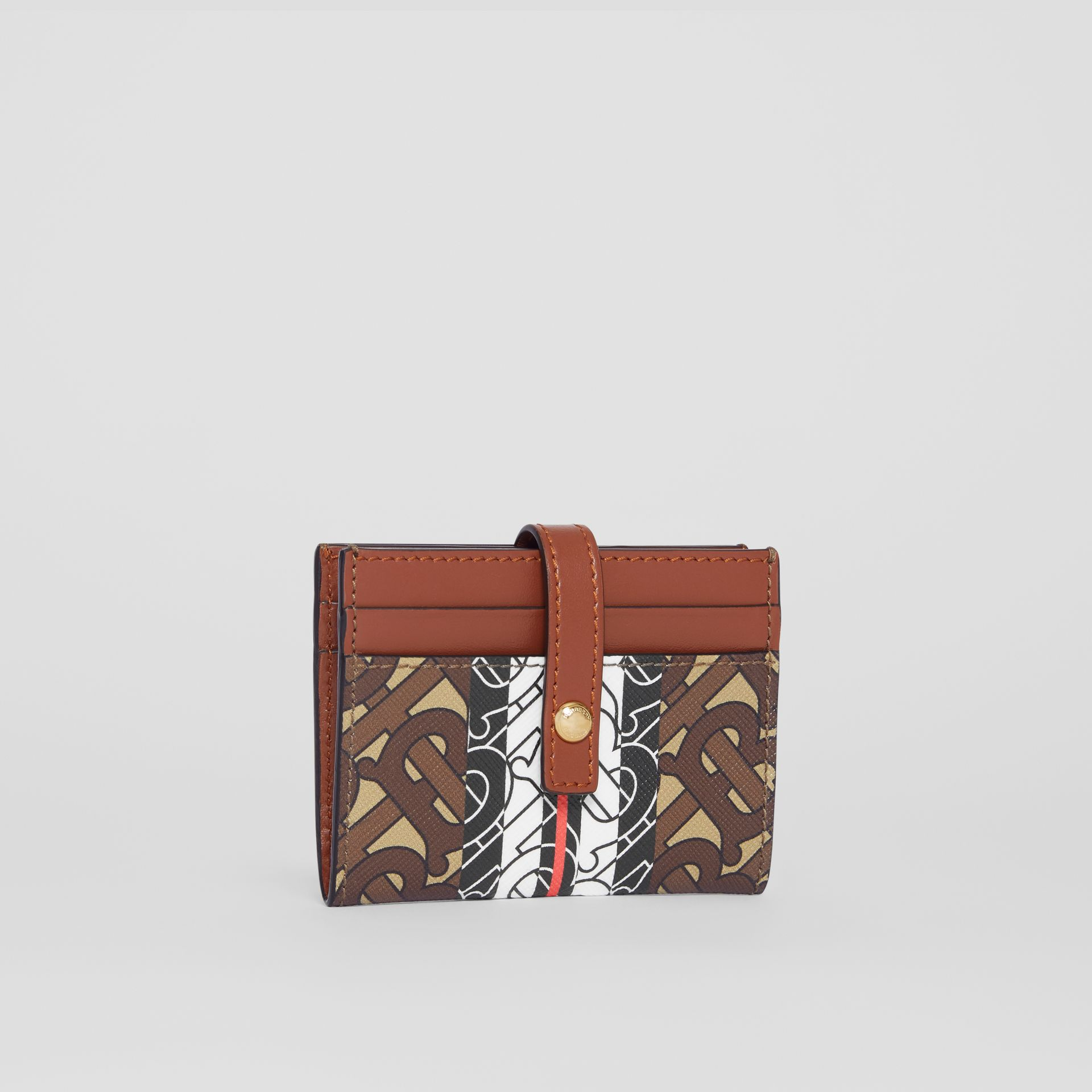 Monogram Stripe E-canvas Folding Card Case in Bridle Brown - Women | Burberry - gallery image 3