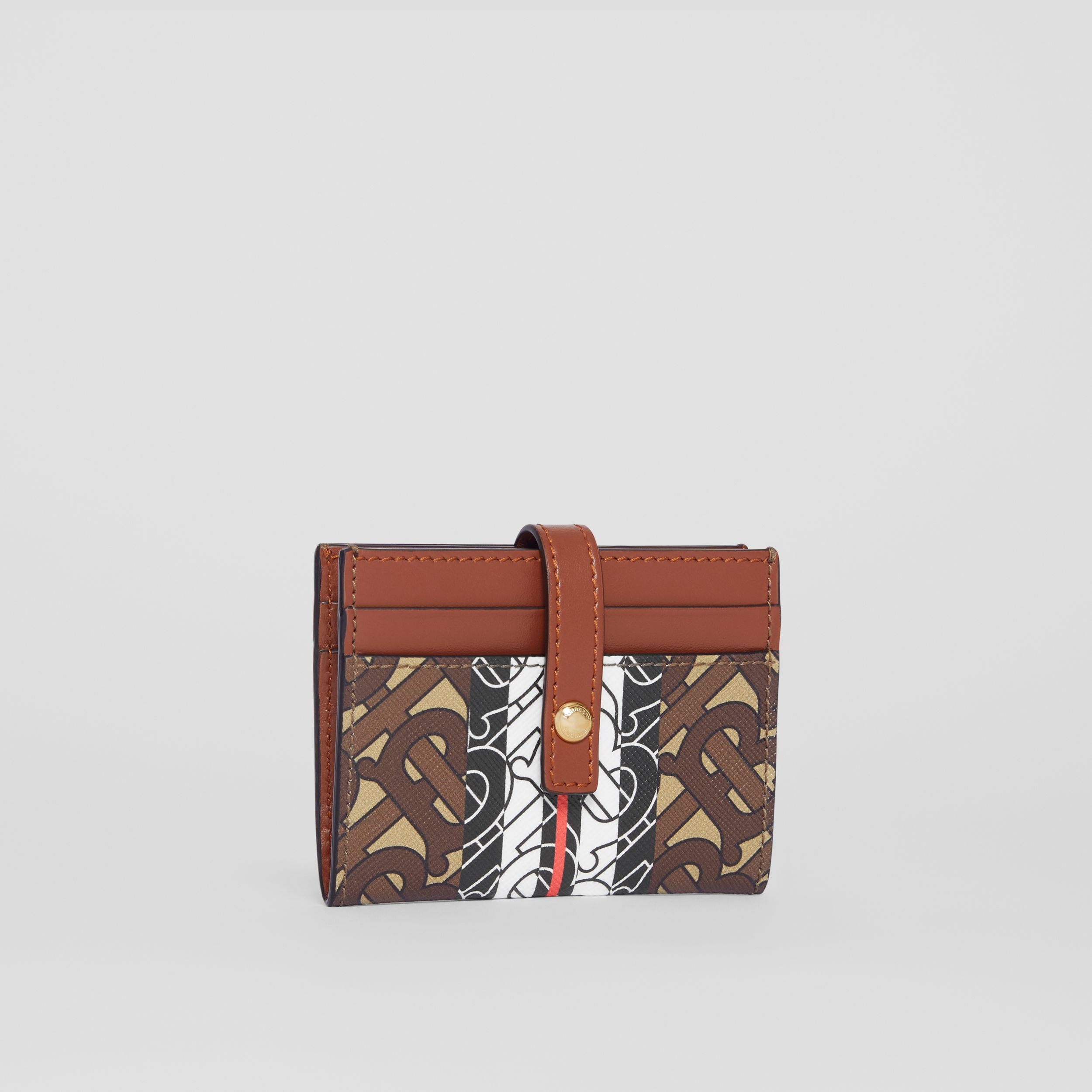 Monogram Stripe E-canvas Folding Card Case in Bridle Brown - Women | Burberry - 4