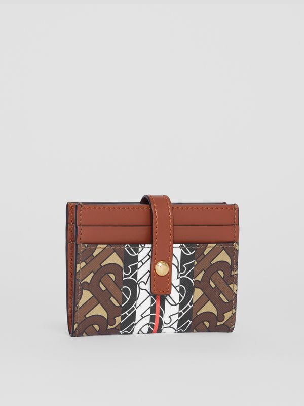 Monogram Stripe E-canvas Folding Card Case in Bridle Brown - Women | Burberry Australia - cell image 3