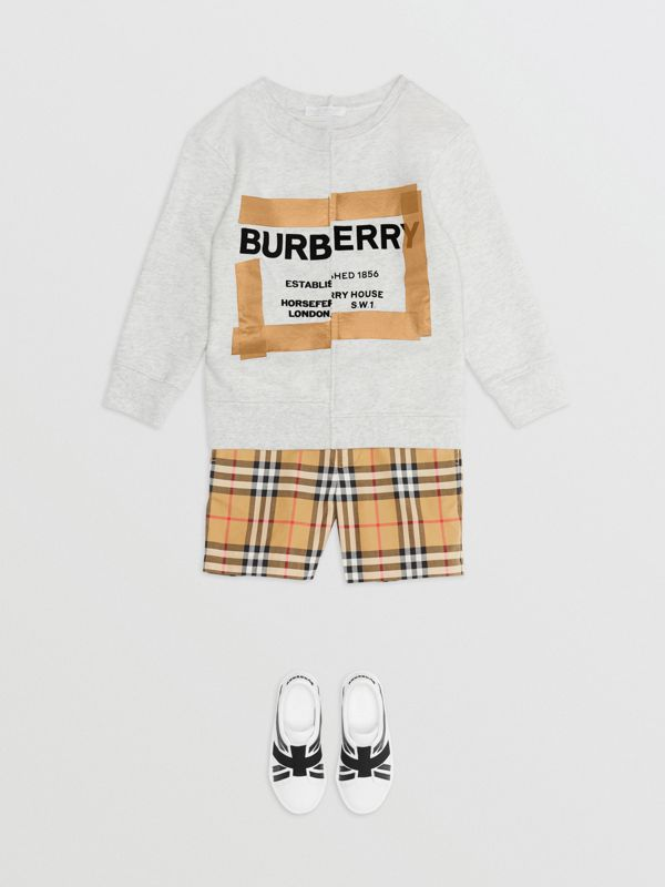Horseferry Print Cotton Sweatshirt in White Melange | Burberry United States - cell image 2