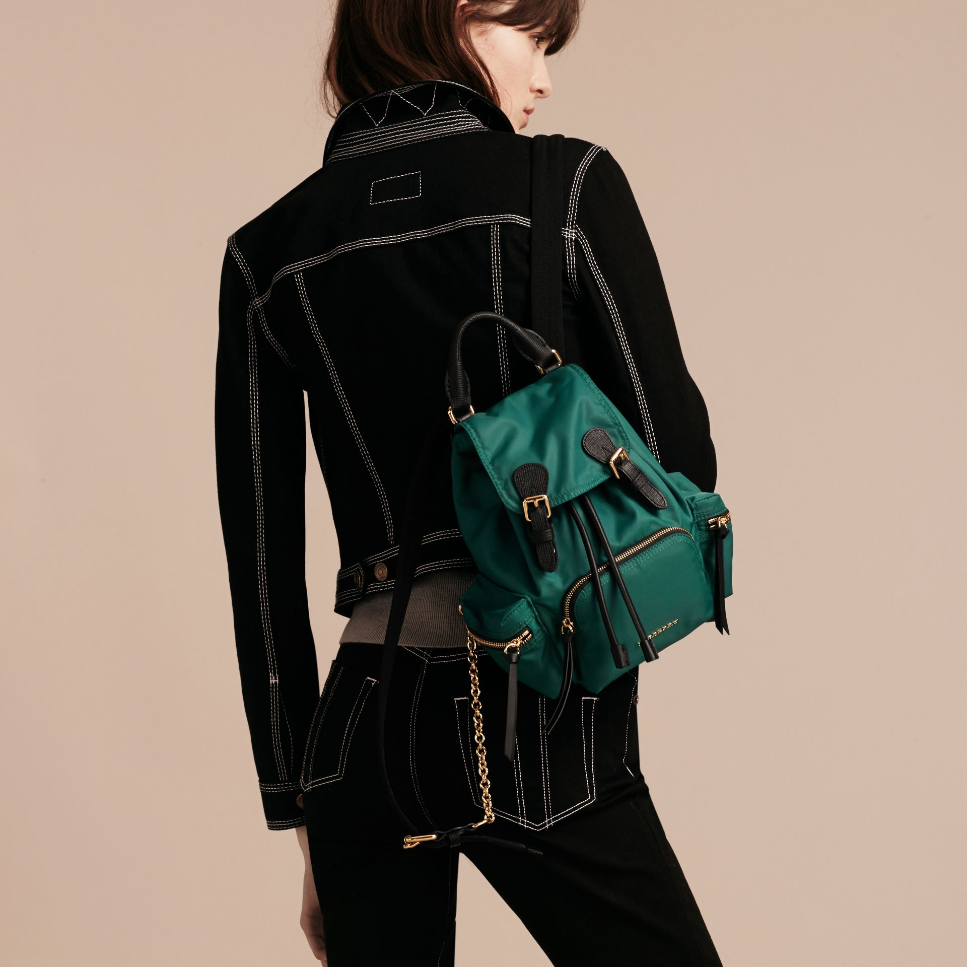 The Small Rucksack in Technical Nylon and Leather Pine Green - gallery image 3