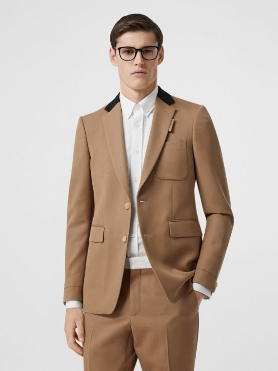 Classic Fit Two-tone Wool Tailored Jacket in Camel