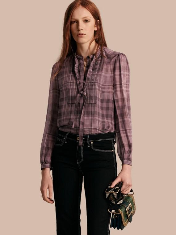 Check Silk Crepon Tie Neck Top