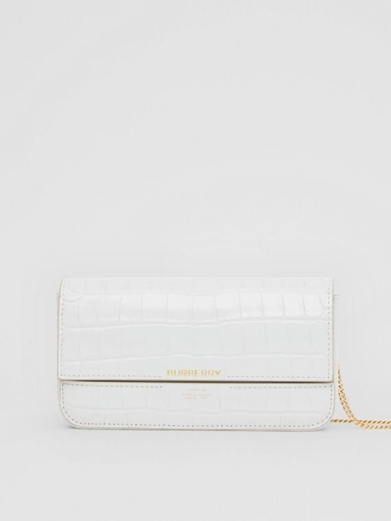 Embossed Leather Wallet with Detachable Chain Strap in Light Pebble Grey