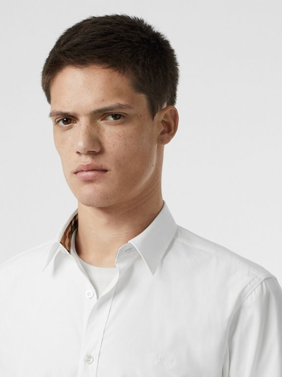 Stretch Cotton Poplin Shirt in White - Men | Burberry - cell image 1