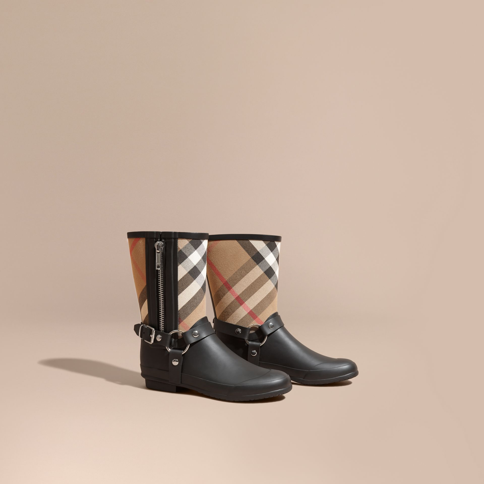 Buckle and Strap Detail Check Rain Boots in House Check/black - Women | Burberry Hong Kong - gallery image 1