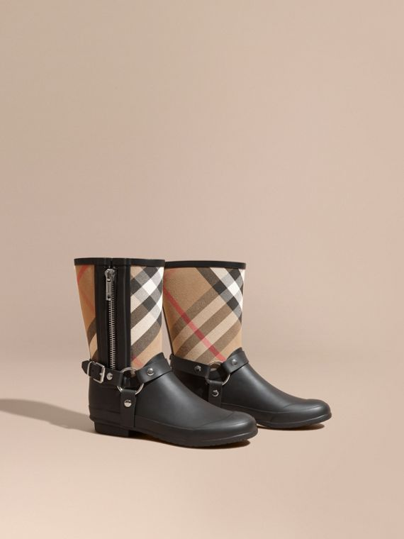 Buckle and Strap Detail Check Rain Boots - Women | Burberry Australia