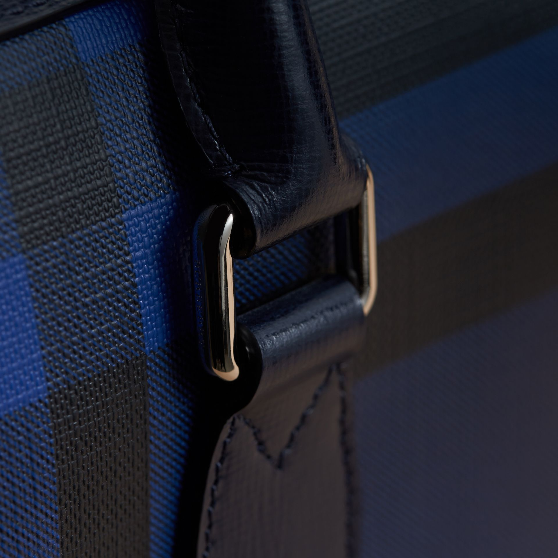 Medium Leather Trim London Check Briefcase in Bright Lapis - Men | Burberry - gallery image 7