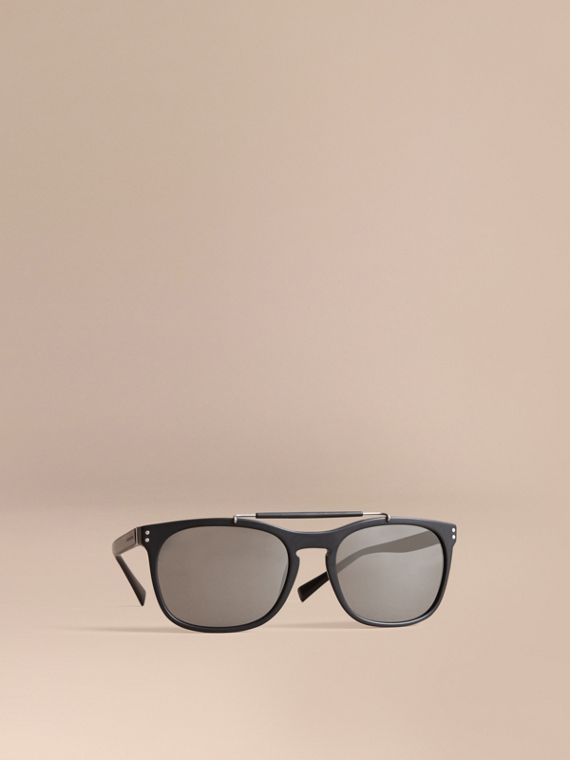 Top Bar Square Frame Sunglasses in Black - Men | Burberry Canada